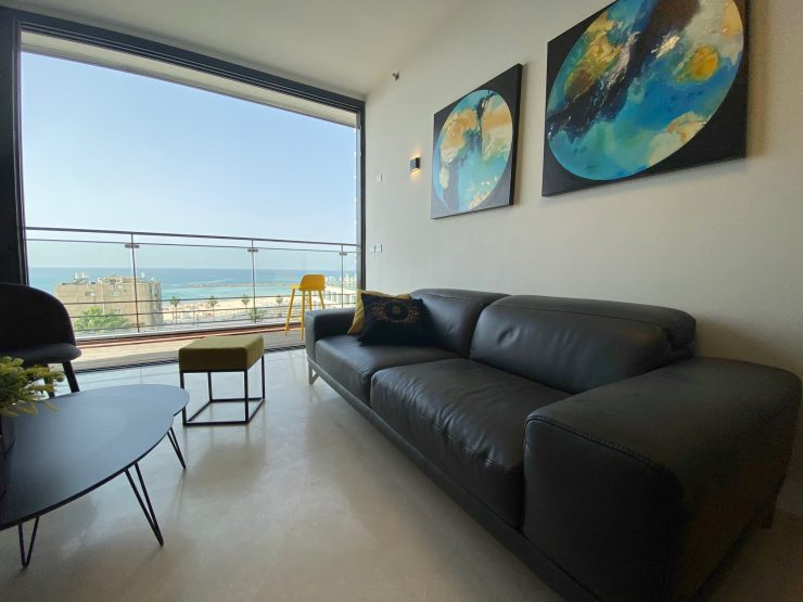 Fully Furnished 3 Bedroom Apartment for Mid-Term Rent on HaYarkon Street with Full Sea View